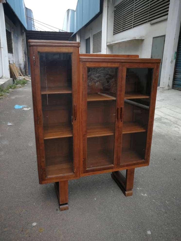 Antique / Vintage U Leg 3 Doors Burmese Teak Wood Cabinet