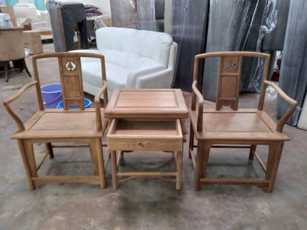 TEAK MAHAGONY ARMCHAIR WITH SIDE TABLE