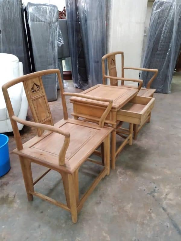 TEAK MAHAGONY ARMCHAIR WITH SIDE TABLE WITH DRAWERS