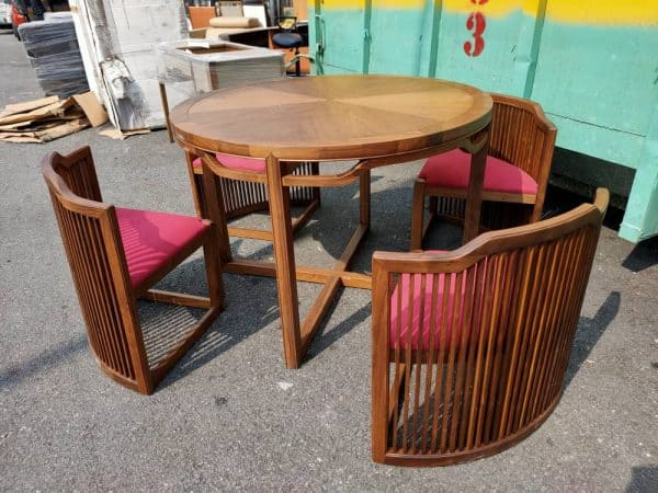 Lorenzo Walnut Table with netted 4 netted chairs