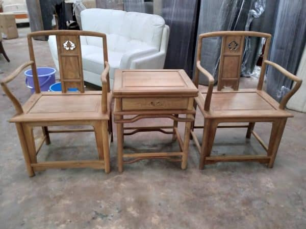 Teak Mahagony Armchair with side table