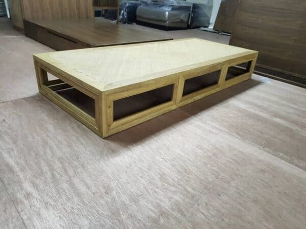 Lorenzo walnut wood daybed frame with straw mat