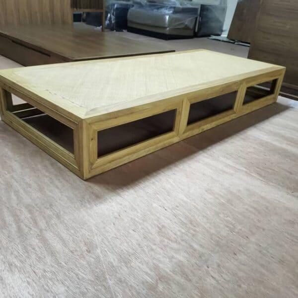 Lorenzo walnut wood daybed frame with straw mat