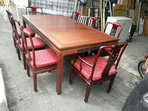 Rosewood Dining Table with 8 Chairs