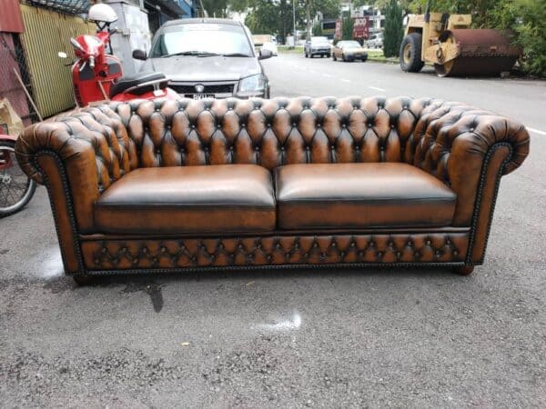 Chesterfield 2 Seater Sofa in Dark Brown