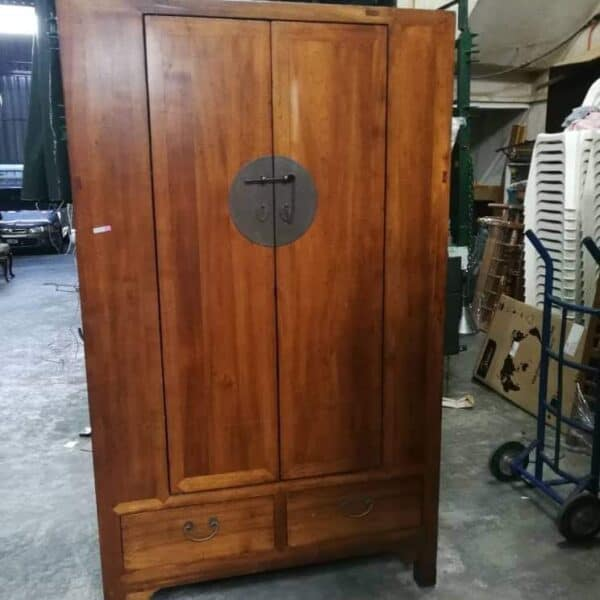 Chinese Oriental Elm wood Tall Cabinet with Doors