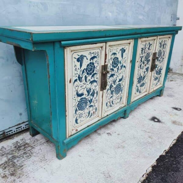 Elm Wood Chinese Oriental Cabinet Sideboard with Marble Top