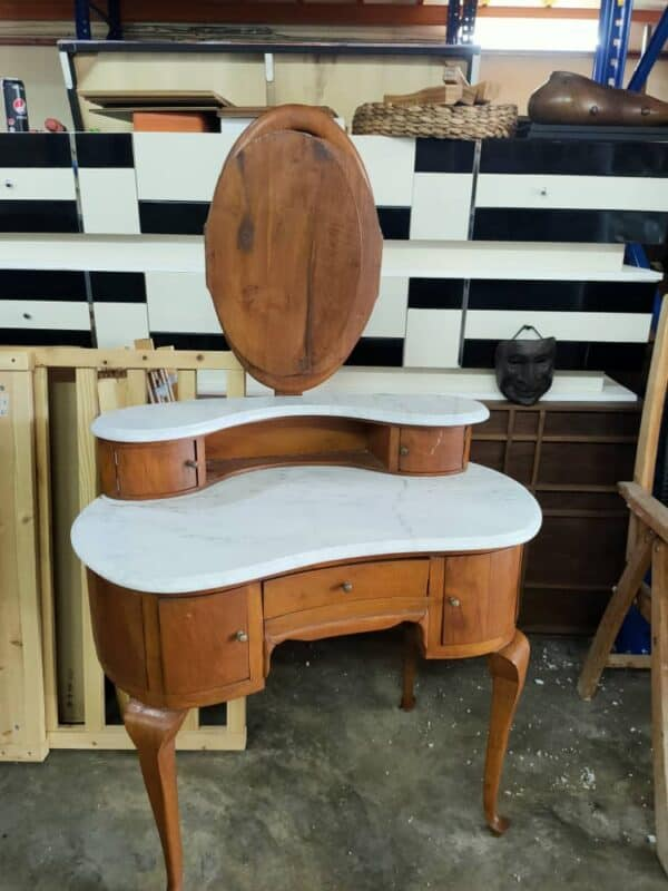 Foldable Teakwood Mirror Dressing Table with Marble Top