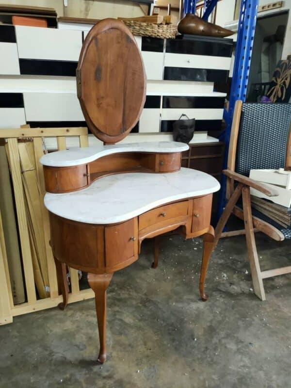 Foldable Teakwood Oval Mirror Dressing Table Marble Top