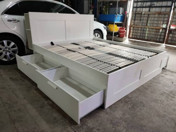IKEA Brimnes King Bed Frame with storage and headboard