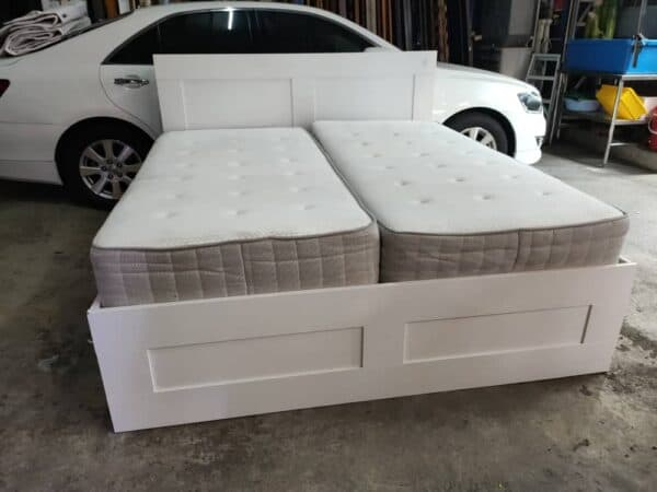 IKEA Brimnes King Bed Frame with storage and headboard with sultan mattress
