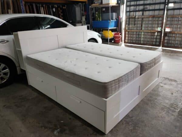 IKEA Brimnes King Bed Frame with storage bed frame with adjustable headrest