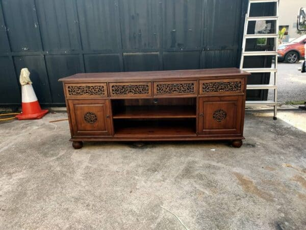 Teakwood tv console with drawers and doors