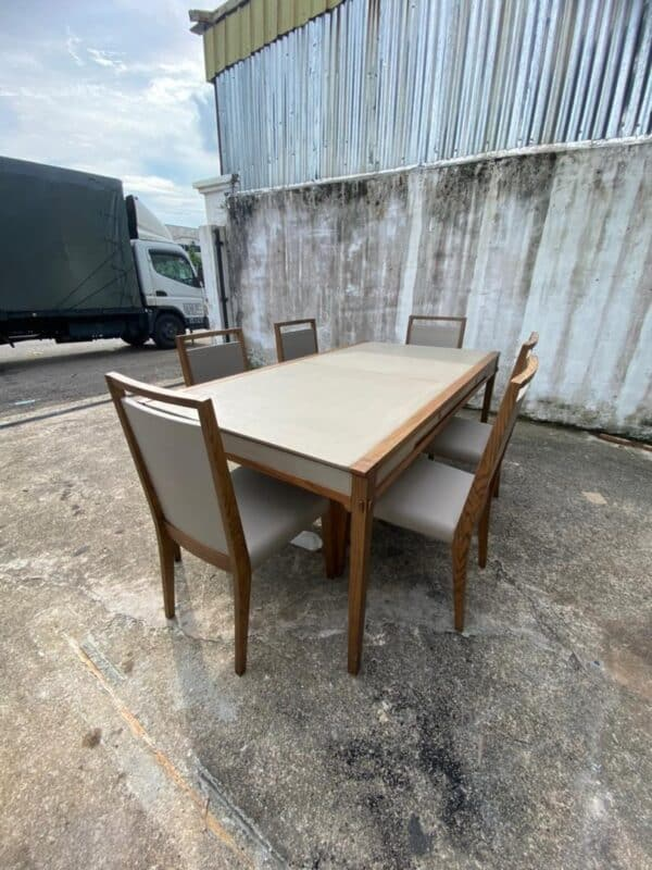 Lorenzo oakwood dining table with drawers with 6 chairs