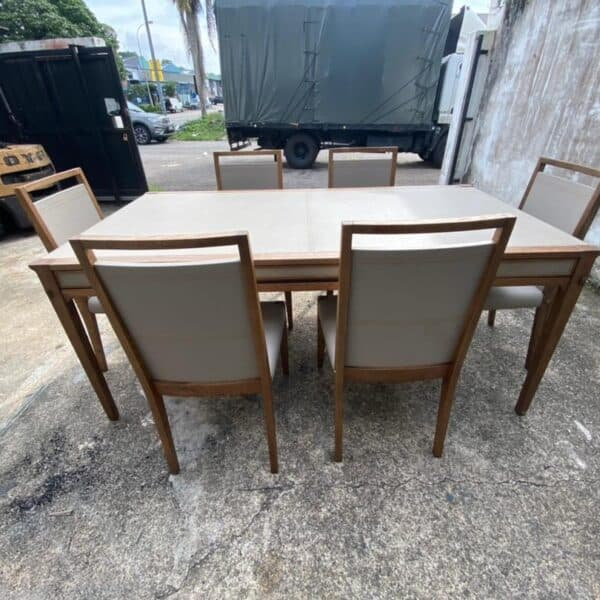 Lorenzo oakwood dining table with drawers with matching 6 chairs