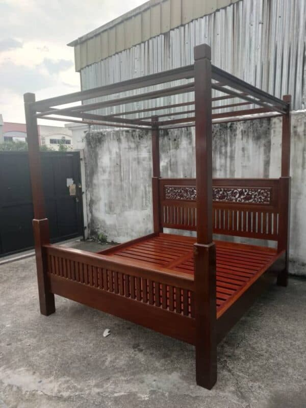 king bed frame with 4 poster teak wood