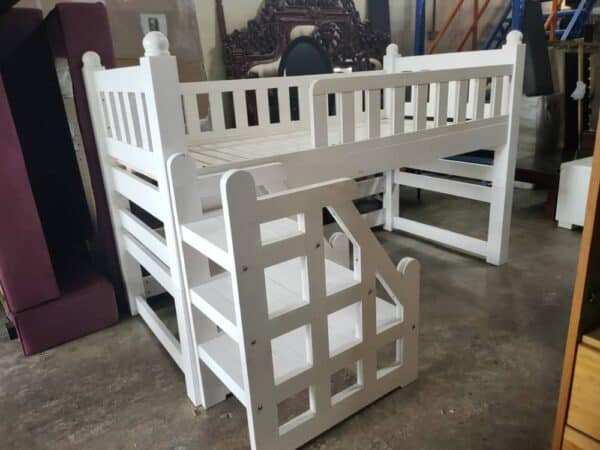 solid wood loft bed frame in white