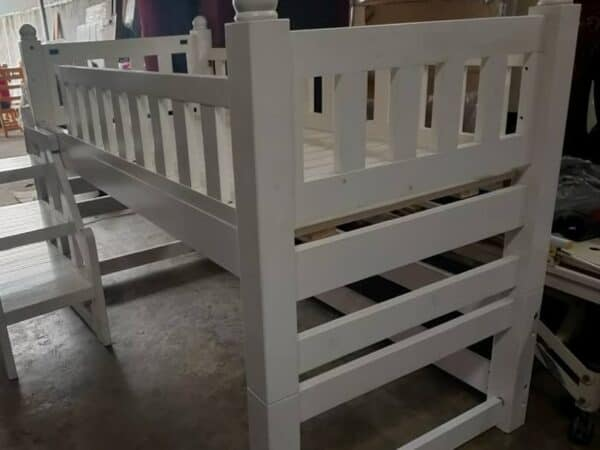 solid wood loft bed in white