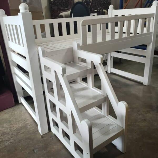 solid wood loft bed with stair