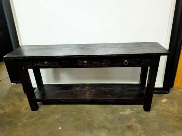 teak wood console table in black