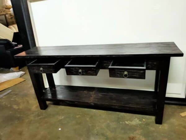 teak wood console table with drawers