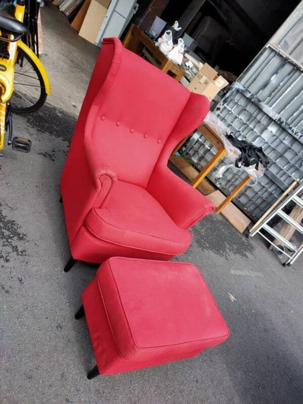 IKEA WING CHAIR WITH STOOL IN RED