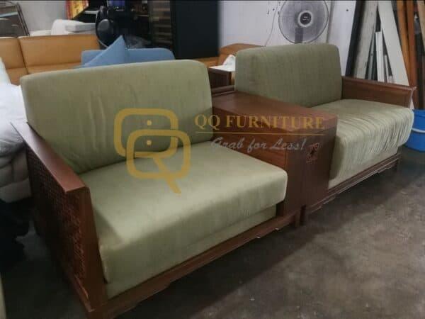 Lorenzo fabric sofa walnut wood