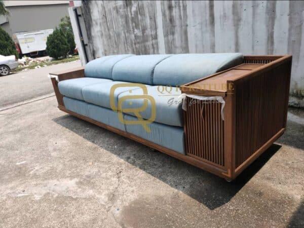 Lorenzo sofa 3 seater walnut frame with side table