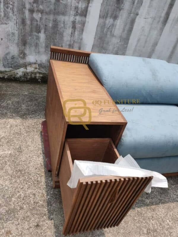 Lorenzo sofa 4 seater walnut frame with side table
