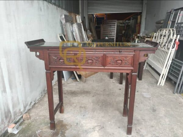 Rosewood Altar Table with Glass Top