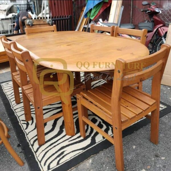 solid pine wood extendable dining table with 6 chairs