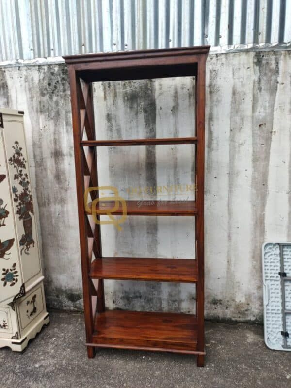 teak wood display cabinet