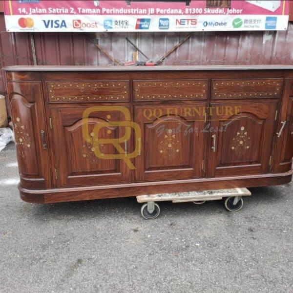 used rosewood cabinet brass inlay